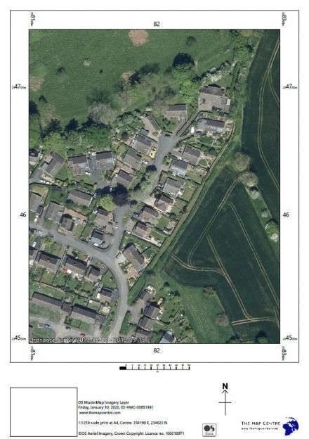 Air Photo by Ordnance Survey  Scale 1:1250 - Print by POST